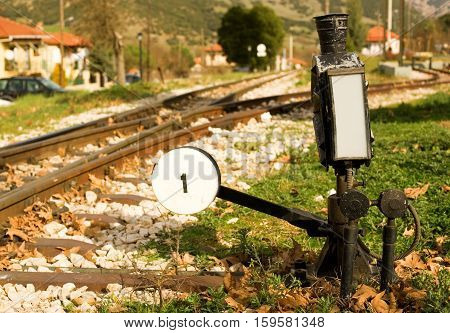 Railroad Switch With Its Lever Of Famous Diakofto-kalavrita Railway, A Historic 750 Mm Gauge Rack Ra