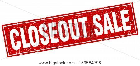 closeout sale. square. stamp. grunge. vintage. sign. Isolated
