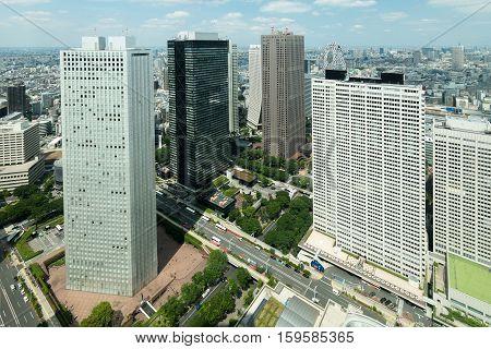 Tokyo Japan skyscraper at the Shinjuku business district.