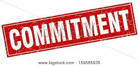 commitment. square. stamp. grunge. vintage. sign. Isolated