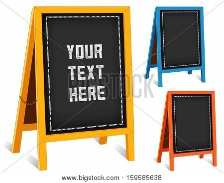 Business Signs, chalk board folding sidewalk easels with brass chains, bright frames, blackboard background with copy space.