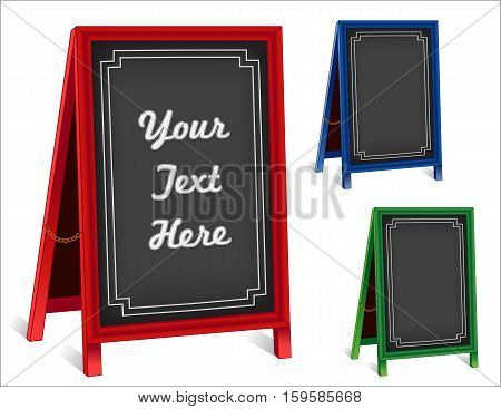 Business Signs, chalk board folding sidewalk easels with brass chains, red, green blue frames, blackboard background with copy space.