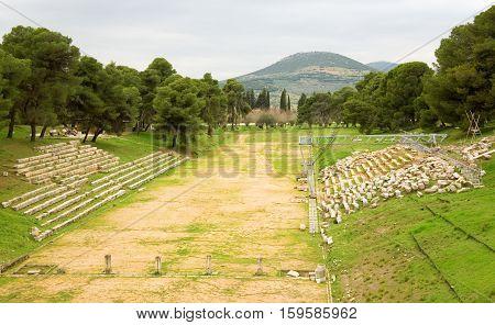 Old Olympic Stadium In Ancient Town Of Epidaurus, Greece