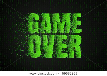 Game Over Green text on a background of binary code.