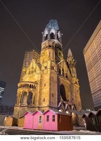 The Memorial Church In Berlin At Night