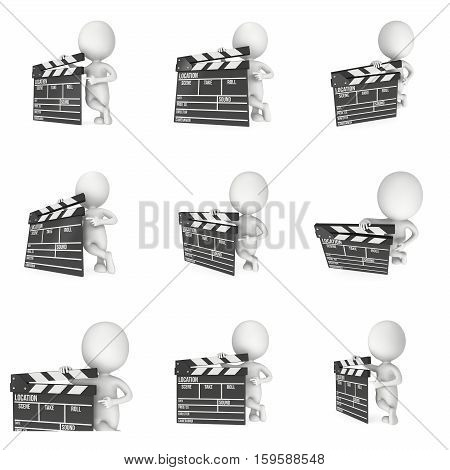 Man with cinema clapperboard. 3D render set isolated on white. Filmmaking and video production.