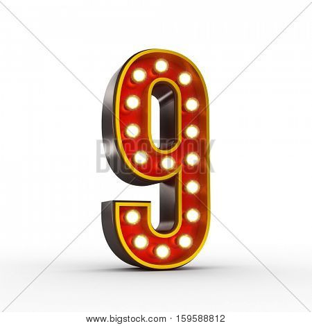 High quality 3D illustration of the number nine in vintage style with light bulbs illuminating it. Clipping path included.