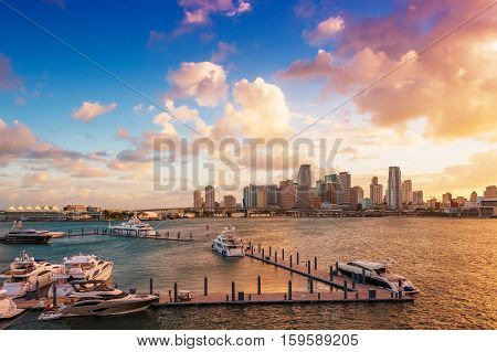 Downtown Miami Florida USA and the port seen from MacArthur Causeway at sunset.