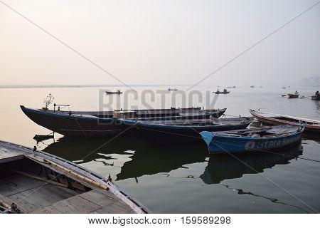 VARANASI, UTTAR PRADESH, INDIA - FEBRUARY 17, 2016 - Boats floating on river Ganga