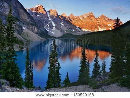 Moraine Lake in the morning light. Banff national park