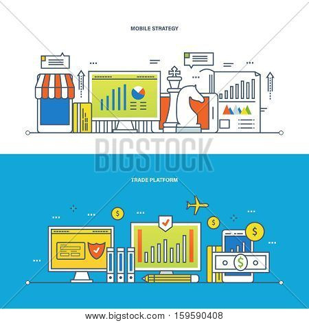Concept of illustration - finance, trade platform and commercial platform, mobile strategy and analysis, economic planning. Vector design for website, banner, printed materials and mobile app.