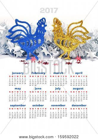 Christmas toy. Calendar 2017. Rooster.