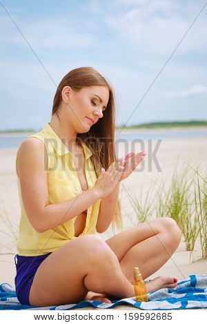 Woman With Sun Oil.
