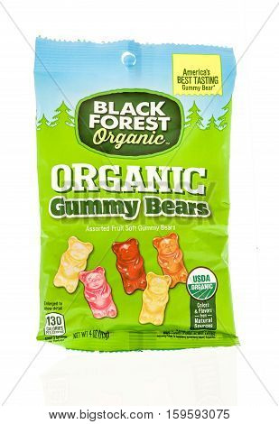 Winneconne WI - 30 November 2016: Package of Black Forest organic gummy bears on an isolated background.