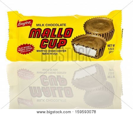 Winneconne WI - 30 November 2016: Package of Mallo Cup milk chocolate by Boyer on an isolated background.