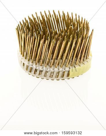 Coil of nails used in pneumatic nail guns for faster construction time.