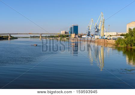 View On Volga River And Cargo Port In Astrakhan