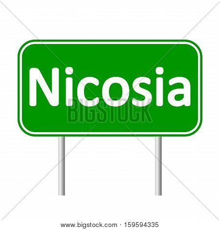Nicosia road sign isolated on white background.