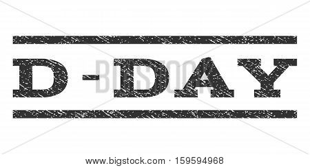 D-Day watermark stamp. Text tag between horizontal parallel lines with grunge design style. Rubber seal gray stamp with scratched texture. Vector ink imprint on a white background.