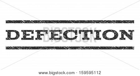 Defection watermark stamp. Text tag between horizontal parallel lines with grunge design style. Rubber seal gray stamp with dirty texture. Vector ink imprint on a white background.