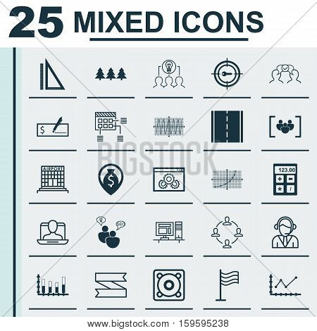 Set Of 25 Universal Editable Icons. Can Be Used For Web, Mobile And App Design. Includes Elements Such As Airport Construction, Segmented Bar Graph, Holiday Ornament And More.
