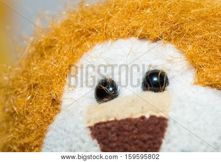 Close up of toy eye. Piece of cuddly toy face in big close up. poster