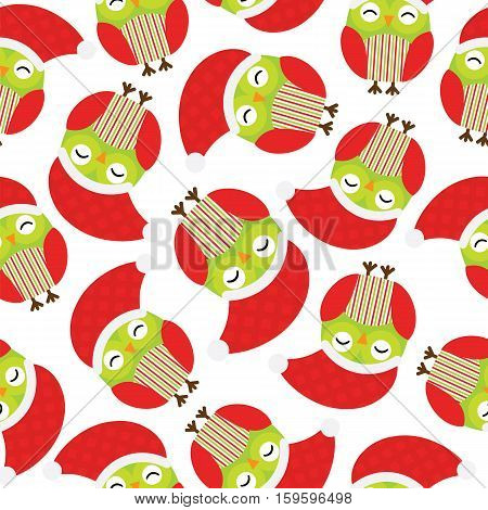 Seamless background of Christmas illustration with cute red owls suitable for Xmas kid wallpaper, scrap paper, and postcard