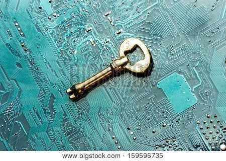 Close Up Of Key On Computer Circuit Board. Concept Of Network Security.