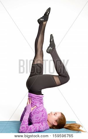 Fitness, Stretching Workout, Attractive Woman In Violet And Black Sportswear Working Out In Sports C