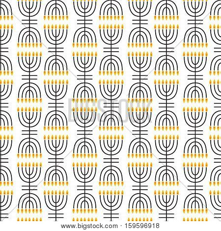 Hanukkah seamless pattern. Hanukkah symbols. Hanukkah candles, menorah. Vector illustration for Jewish holiday Hanukkah.