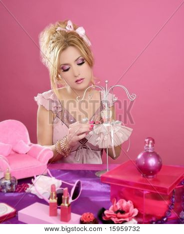 doll style blonde pink vanity table retro fashion designer pretending