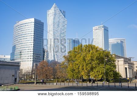 Warsaw city with skyscrapers,Warsaw ,Poland-October 2016:Warsaw city with skyscrapers