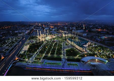 Chechnya Grozny at night the view of the mosque night city from height of bird's flight