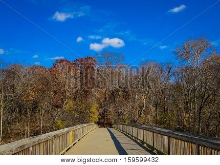 bridge in fall over the Potomac River