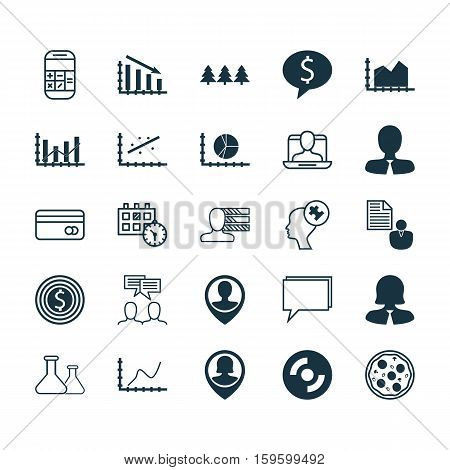 Set Of 25 Universal Editable Icons. Can Be Used For Web, Mobile And App Design. Includes Elements Such As Raise Diagram, Plastic Card, Conference And More.