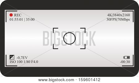 Photo or video camera viewfinder grid with shooting settings on screen. Vector background