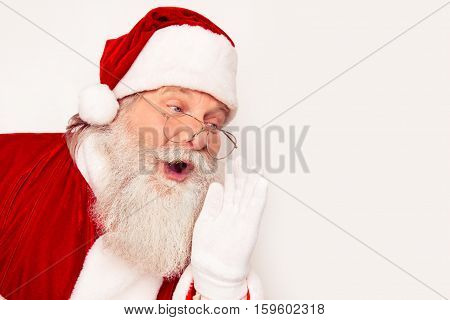 Excited Santa Claus  With Open Mouth Saying Ho-ho-ho