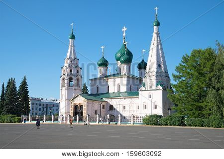 YAROSLAVL, RUSSIA - JULY 10, 2016: The old Church of Elijah the prophet, Sunny day in July. The religious landmark of the Yaroslavl, Golden ring of Russi