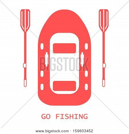 Stylized Icon Of A Colored Inflatable Boat With Oars For Fishing