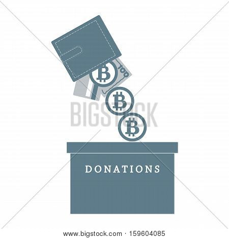 Stylized Icon Calling To Make A Donation. From Wallet With The Card, Bill And Bitcoin Spilling Bitco