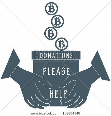 Stylized Icon Calling To Make A Donation. Bitcoins Are Poured Into A Box For Donations That Keep Bot