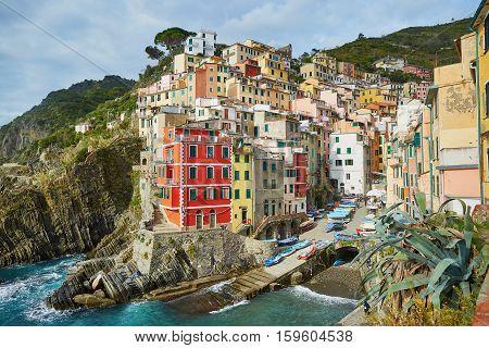 Scenic View Of Riomaggiore, Cinque Terre, Liguria, Italy