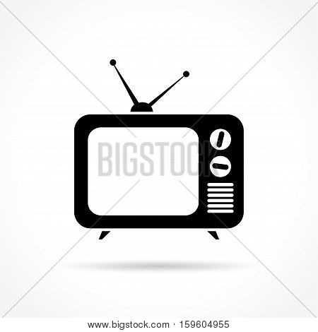 Illustration of retro tv icon on white background