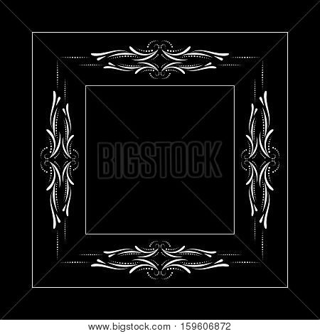 Calligraphic frame and page decoration. Floral adornment illustration. Black floral frame on white background.