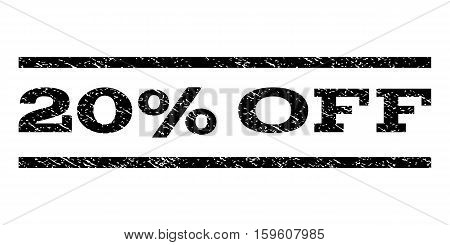 20 Percent Off watermark stamp. Text tag between horizontal parallel lines with grunge design style. Rubber seal black stamp with scratched texture. Vector ink imprint on a white background.