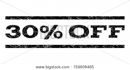30 Percent Off watermark stamp. Text caption between horizontal parallel lines with grunge design style. Rubber seal black stamp with dirty texture. Vector ink imprint on a white background.