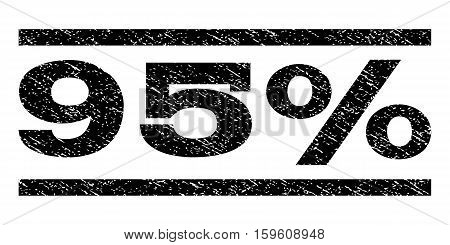 95 Percent watermark stamp. Text tag between horizontal parallel lines with grunge design style. Rubber seal black stamp with dust texture. Vector ink imprint on a white background.