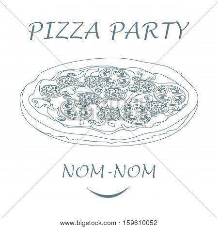Nice Illustration Of Tasty, Appetizing Pizza With Inscriptions Pizza Party.