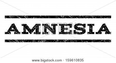 Amnesia watermark stamp. Text tag between horizontal parallel lines with grunge design style. Rubber seal black stamp with dust texture. Vector ink imprint on a white background.