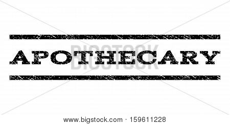 Apothecary watermark stamp. Text tag between horizontal parallel lines with grunge design style. Rubber seal black stamp with dust texture. Vector ink imprint on a white background.